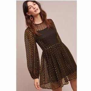 Anthropologie Velvet Polka Dot Dress